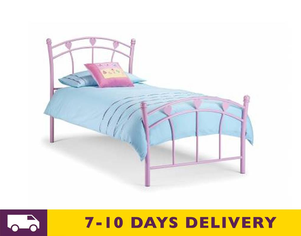 Time living 3ft single pink hearts metal bed frame bed for Best time for mattress sales