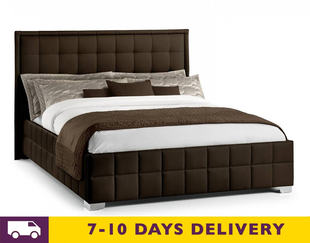 julian bowen knightsbridge 4ft6 double faux leather brown bed. Black Bedroom Furniture Sets. Home Design Ideas