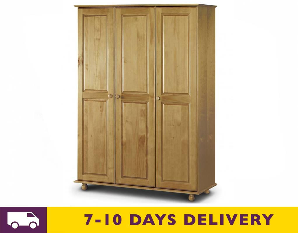 Julian bowen pickwick 3 door solid pine wardrobe fitted for Fitted bedroom furniture 0 finance