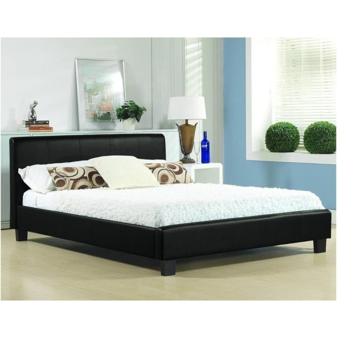 Time Living 3ft Single Bed Black Faux Leather - Hamburg