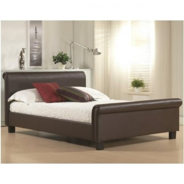 3ft Single Bed Brown Faux Leather - Aurora