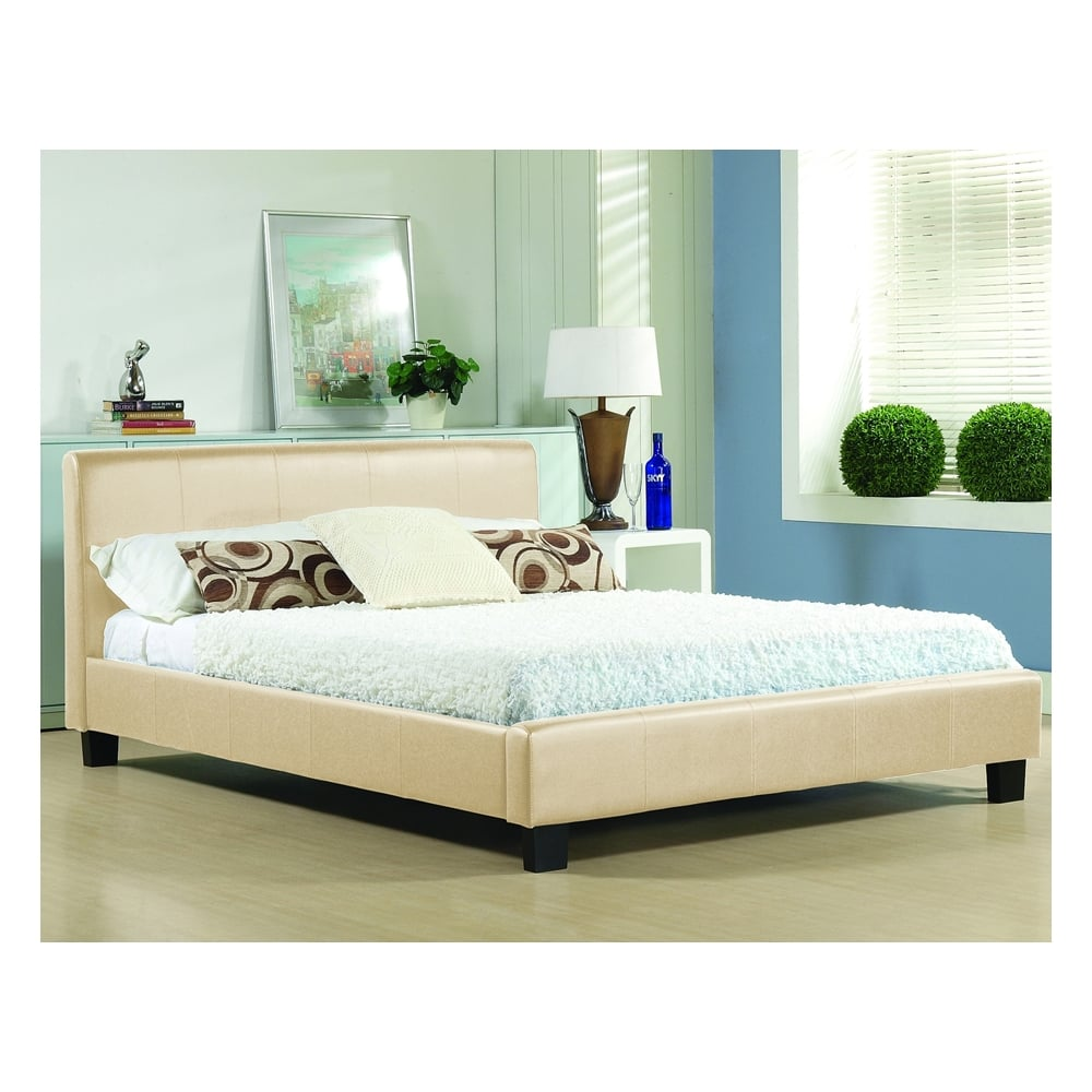 Buy Cream Single 3ft Bed Faux Leather Hamburg From Bedsos