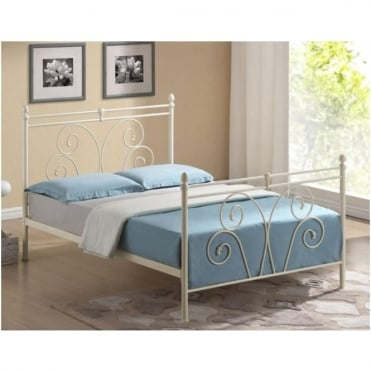3ft Single Bed Ivory Metal - Wallace