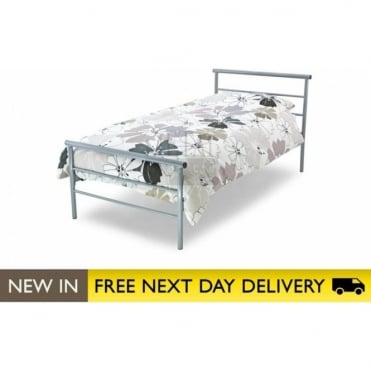 3ft Single Bed Silver Metal - Contract