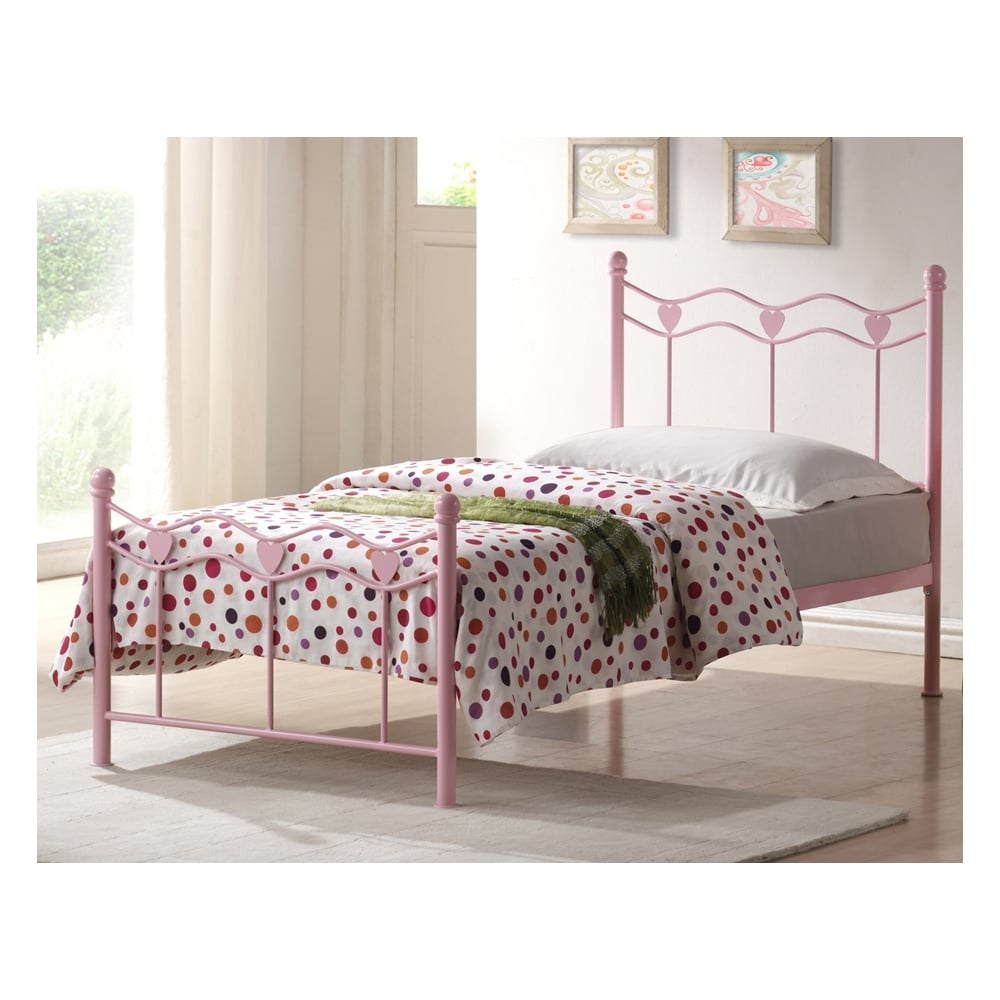 3ft single childrens bed pink metal madrid buy single. Black Bedroom Furniture Sets. Home Design Ideas