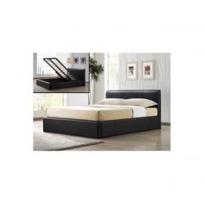 4ft Small Double Bed Brown Faux Leather - Ottoman