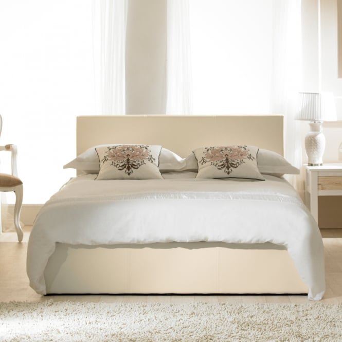 Emporia 4ft Small Double Madrid Ivory Faux Leather Ottoman Bed