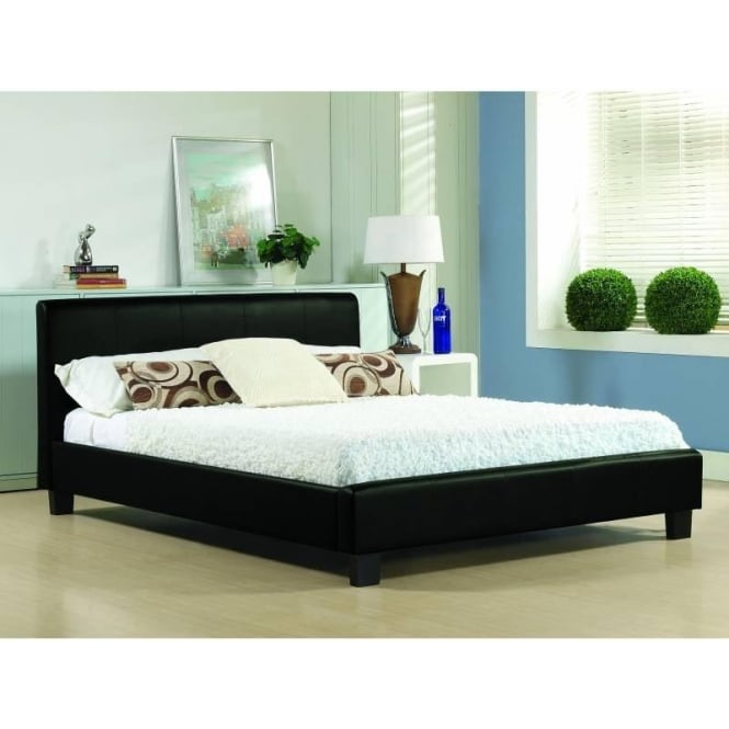 Time Living 4ft6 Double Bed Black Real Leather - Hamburg