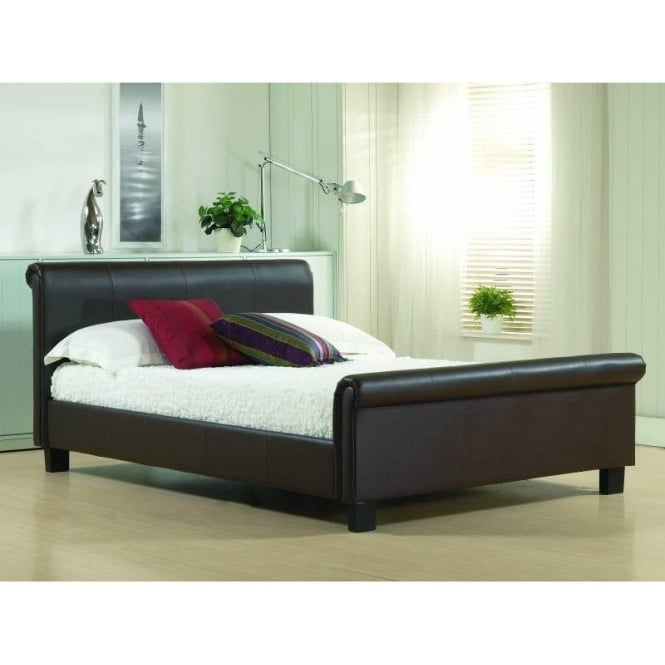 Time Living 4ft6 Double Bed Brown Real Leather - Aurora