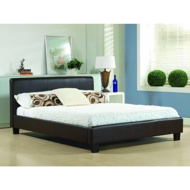 Time Living 4ft6 Double Bed Brown Real Leather - Hamburg