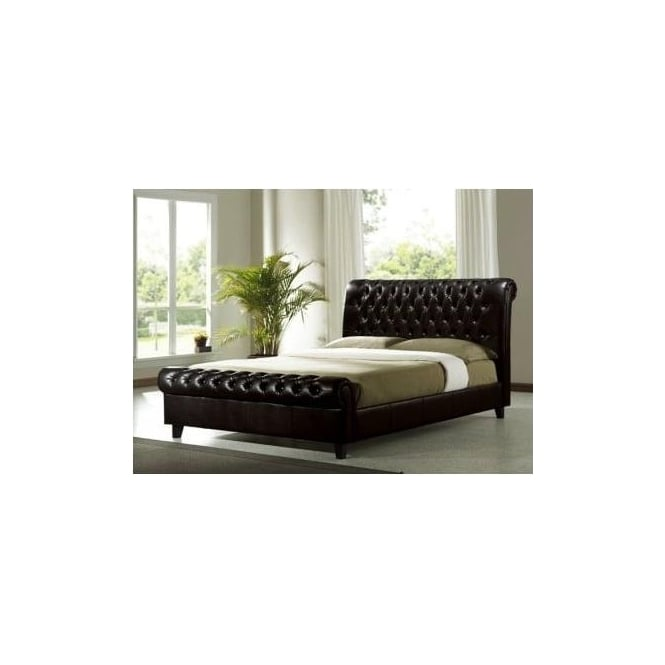 Time Living 4ft6 Double Bed Dark Brown Faux leather - Richmond