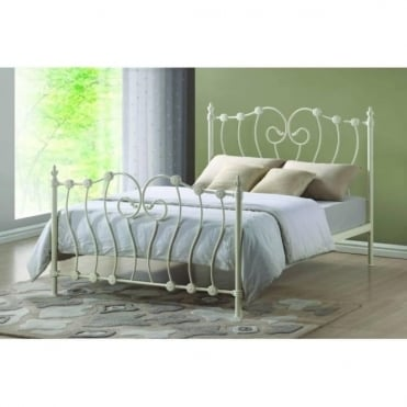 4ft6 Double Bed Ivory Metal - Inova