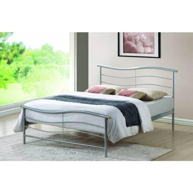 Time Living 4ft6 Double Bed Silver Metal - Waverley
