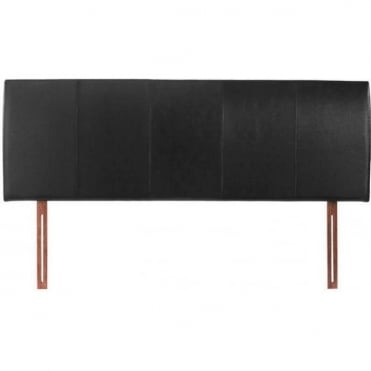 4ft6 Double Headboard Black Faux Leather - Hamburg