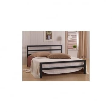 5ft King Size Bed Black Metal - City Block
