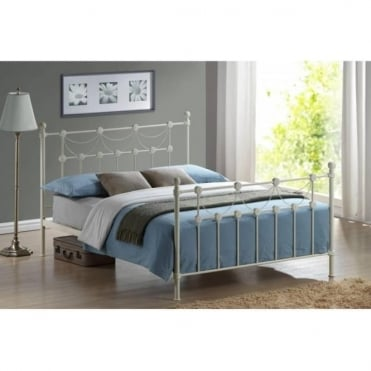 5ft King Size Bed Ivory Metal - Omero