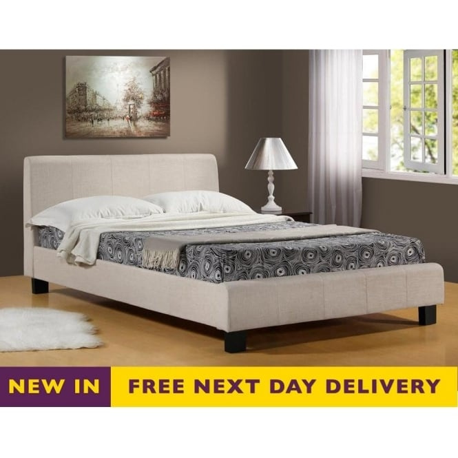 Time Living 5ft King Size Hamburg Oatmeal Fabric Bed