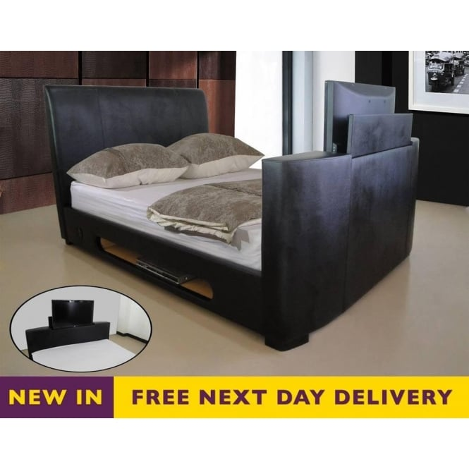 Discounted 6ft Super King Size Black Sonic Tv Bed Buy Sonic 6ft