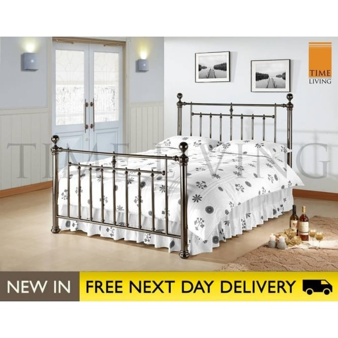 Time Living Exclusive Alexander 4ft6 Black Nickel Double Bed ALE46BLK
