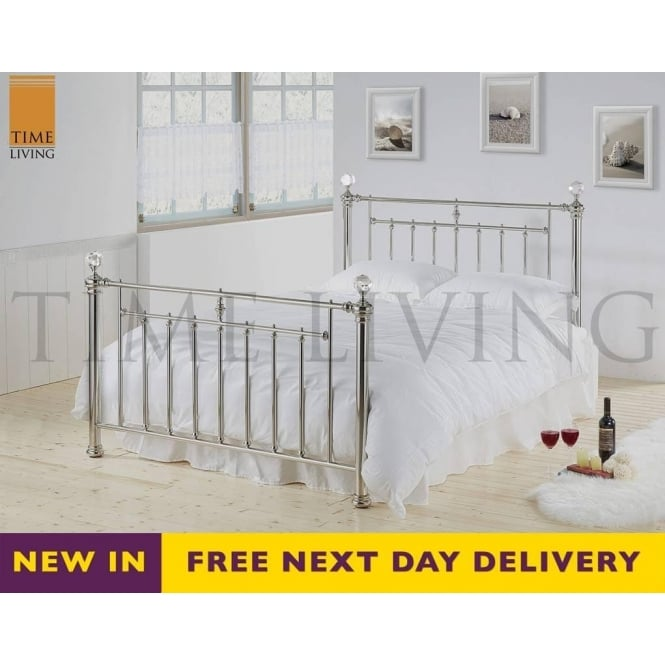 Time Living Exclusive Alexander Crystal 5ft King Size Chrome Plated Metal Bed