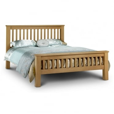Amsterdam 4ft6 Double Solid Oak Bed - High Foot End