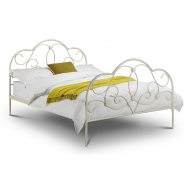 Arabella 4ft6 Double Stone White Metal Bed