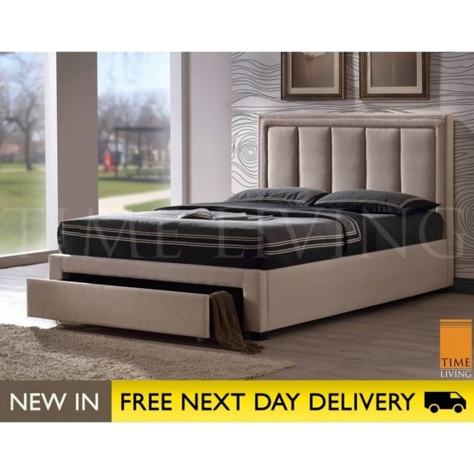 size 40 ffa9b 9b4db Time Living Atlanta 4ft6 Double Cream Fabric Storage Bed ATL46SAND