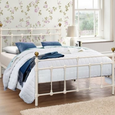 Atlas 4ft Small Double Cream Metal Bed