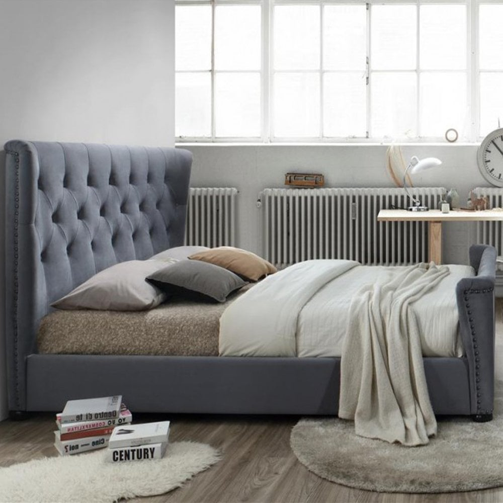 Birlea Beds Bakb6gry Barkley 6ft Super King Size Grey Velvet Bed
