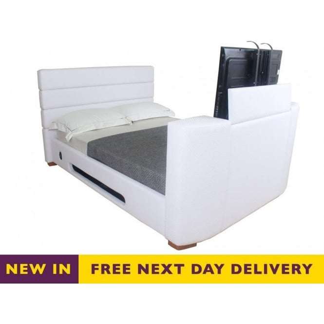 official photos fb563 66157 Heartlands Balmain TV bed 5ft King Size White Faux Leather