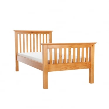 Barcelona 3ft Single High Foot End Pine Finish Bed