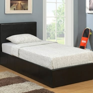 Berlin 3ft Single Black Faux Leather Ottoman Bed Frame