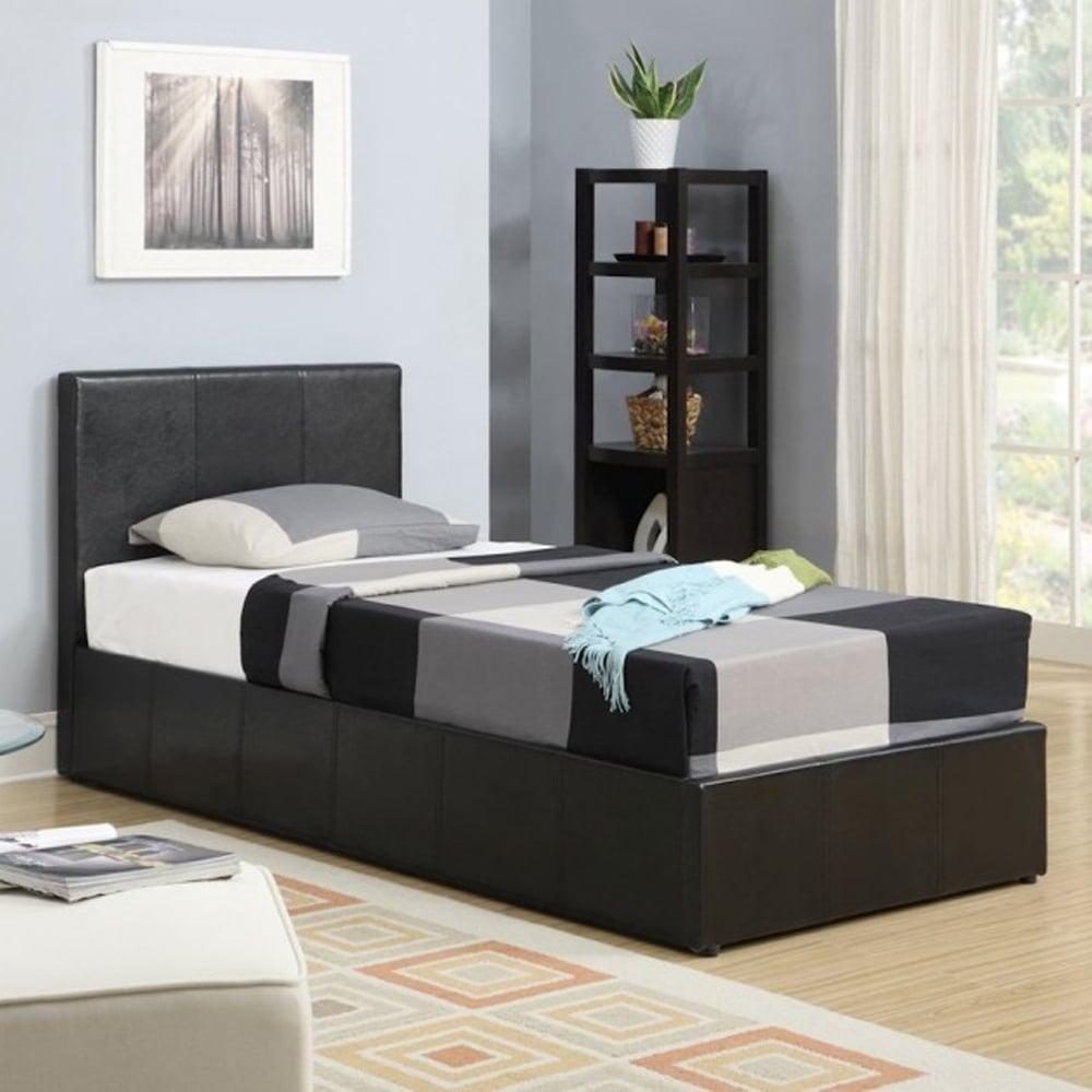 birlea berlin 3ft single brown faux leather ottoman bed. Black Bedroom Furniture Sets. Home Design Ideas