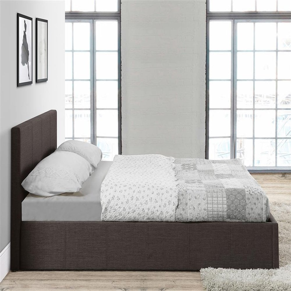 Tremendous Befot5Gryv2 Berlin 5Ft King Size Grey Fabric Ottoman Bed Forskolin Free Trial Chair Design Images Forskolin Free Trialorg