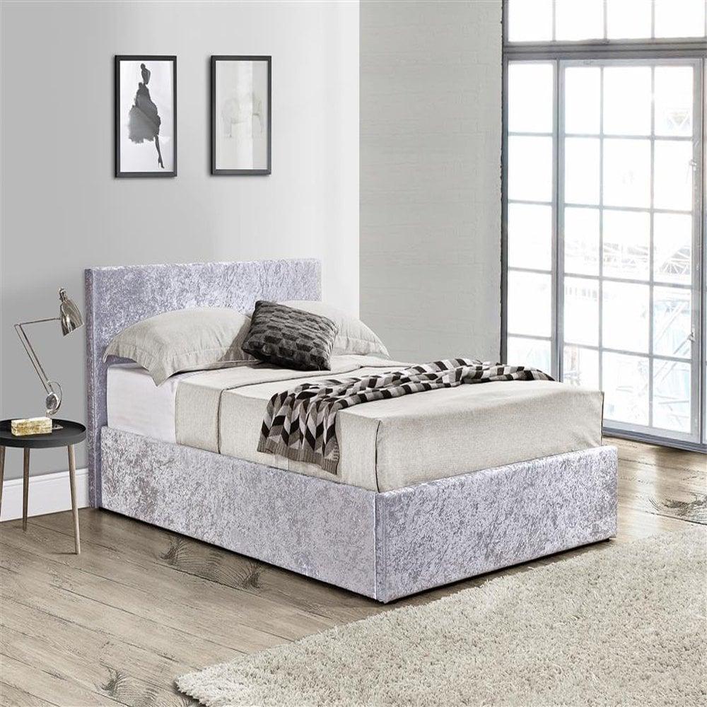 huge selection of b504f 66db9 BEOT4STEV2 Berlin 4ft Small Double Steel Crushed Velvet Ottoman Bed
