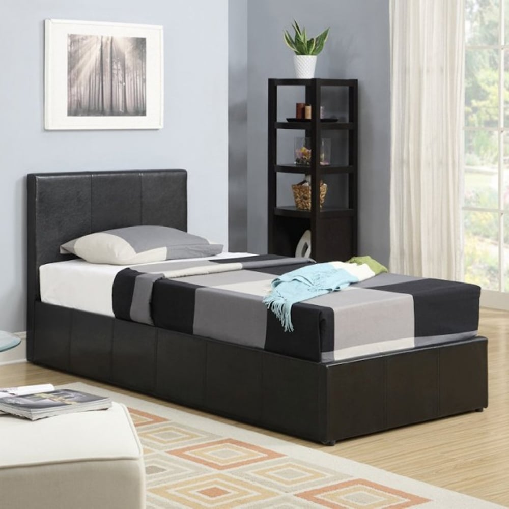 Swell Berlin 3Ft Single Brown Faux Leather Ottoman Bed Frame Gmtry Best Dining Table And Chair Ideas Images Gmtryco