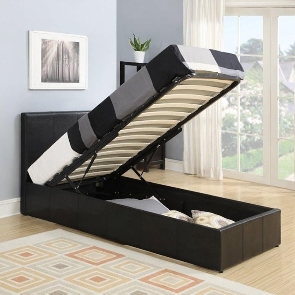 Birlea Berlin 3ft Single Brown Faux Leather Ottoman Bed Frame