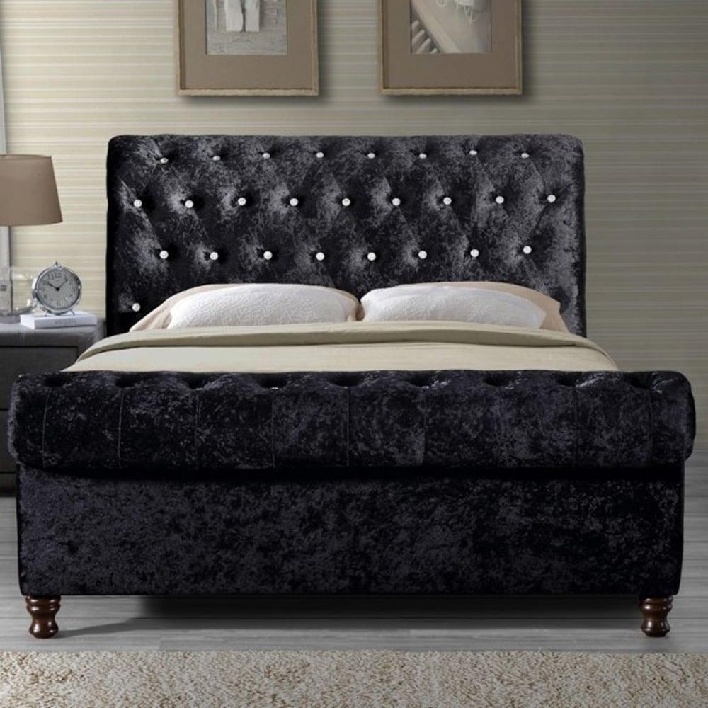 shop birlea beds BORB5BLK Bordeaux 5ft king size black crushed ...