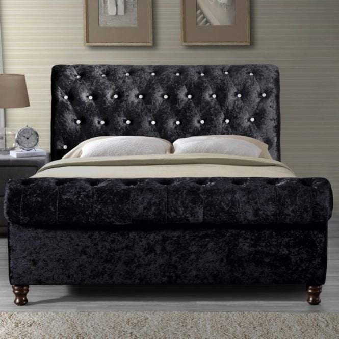Birlea Beds BORB5BLK Bordeaux 5ft King Size Black Crushed Velvet Bed