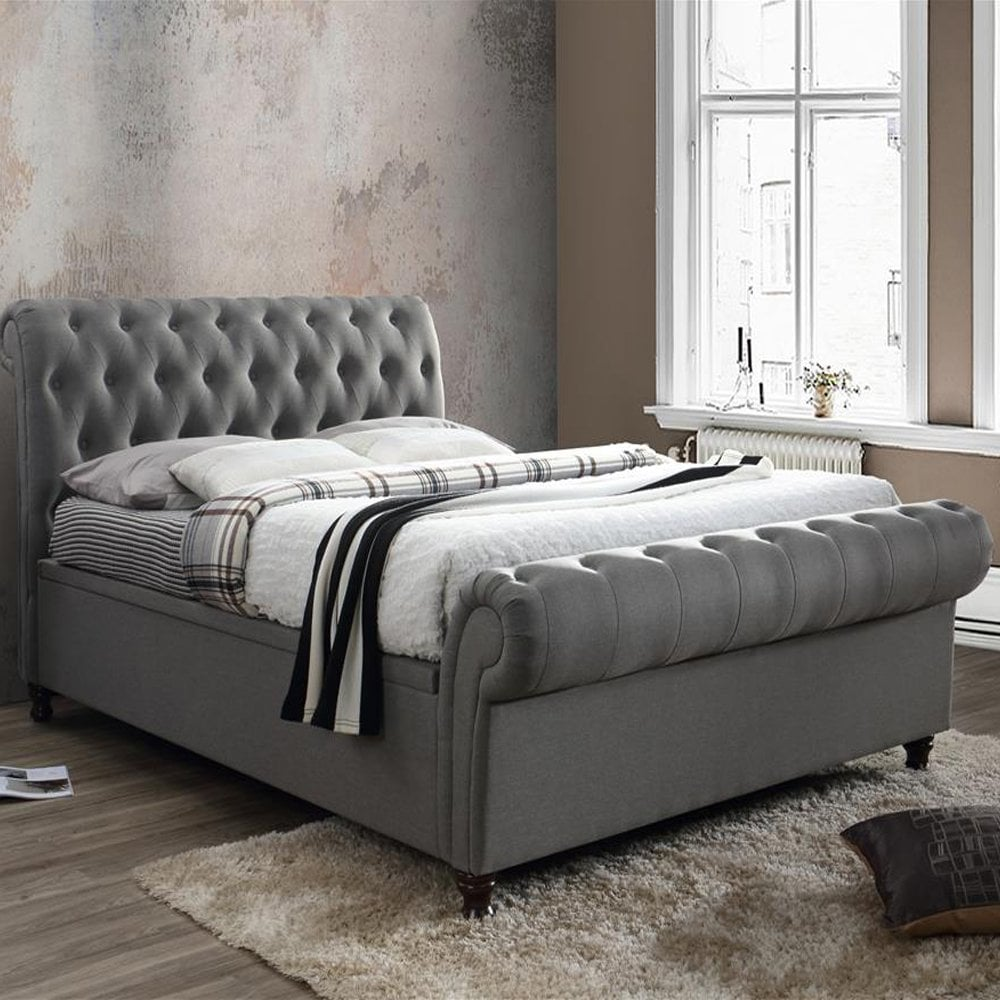 Strange Birlea Beds Casso5Gry Castello 5Ft King Size Grey Side Ottoman Bed Forskolin Free Trial Chair Design Images Forskolin Free Trialorg