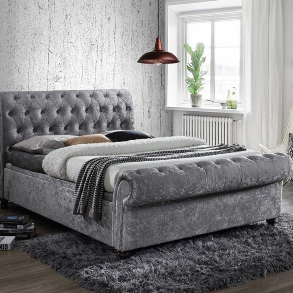 Stupendous Casso6Ste Castello 6Ft Super King Size Steel Crushed Velvet Side Ottoman Bed Inzonedesignstudio Interior Chair Design Inzonedesignstudiocom