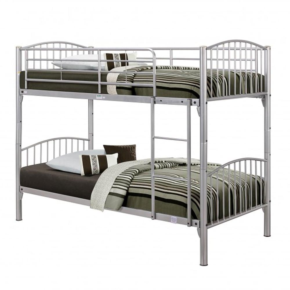 Corbbv2 Corfu 3ft Single Silver Metal Bunk Bed