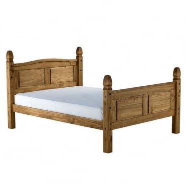 COROB46HPIN Corona 4ft6 Double High End Waxed Pine Bed