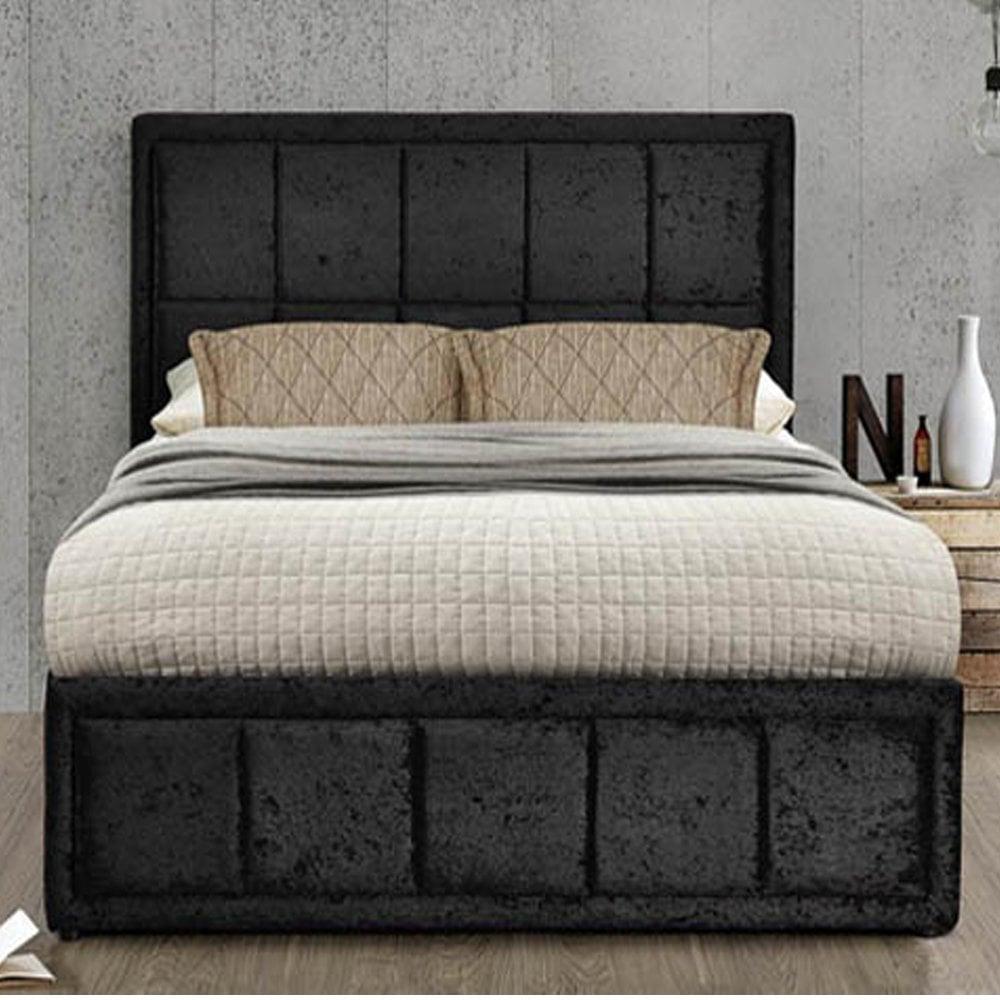Tremendous Birlea Beds Hanot46Bcvv2 Hannover 4Ft6 Double Black Crushed Velvet Ottoman Bed Forskolin Free Trial Chair Design Images Forskolin Free Trialorg