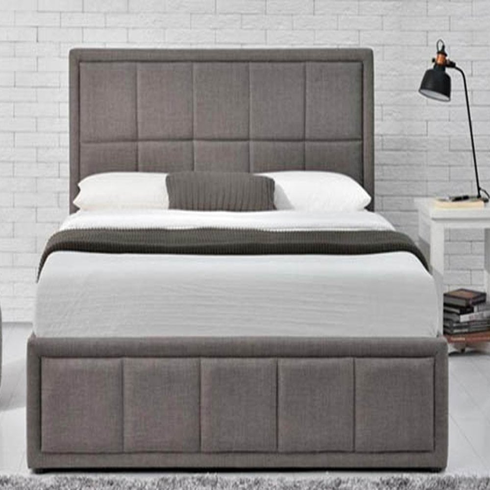 Miraculous Hanot4Gryv2 Hannover 4Ft Small Double Grey Fabric Ottoman Bed Bralicious Painted Fabric Chair Ideas Braliciousco