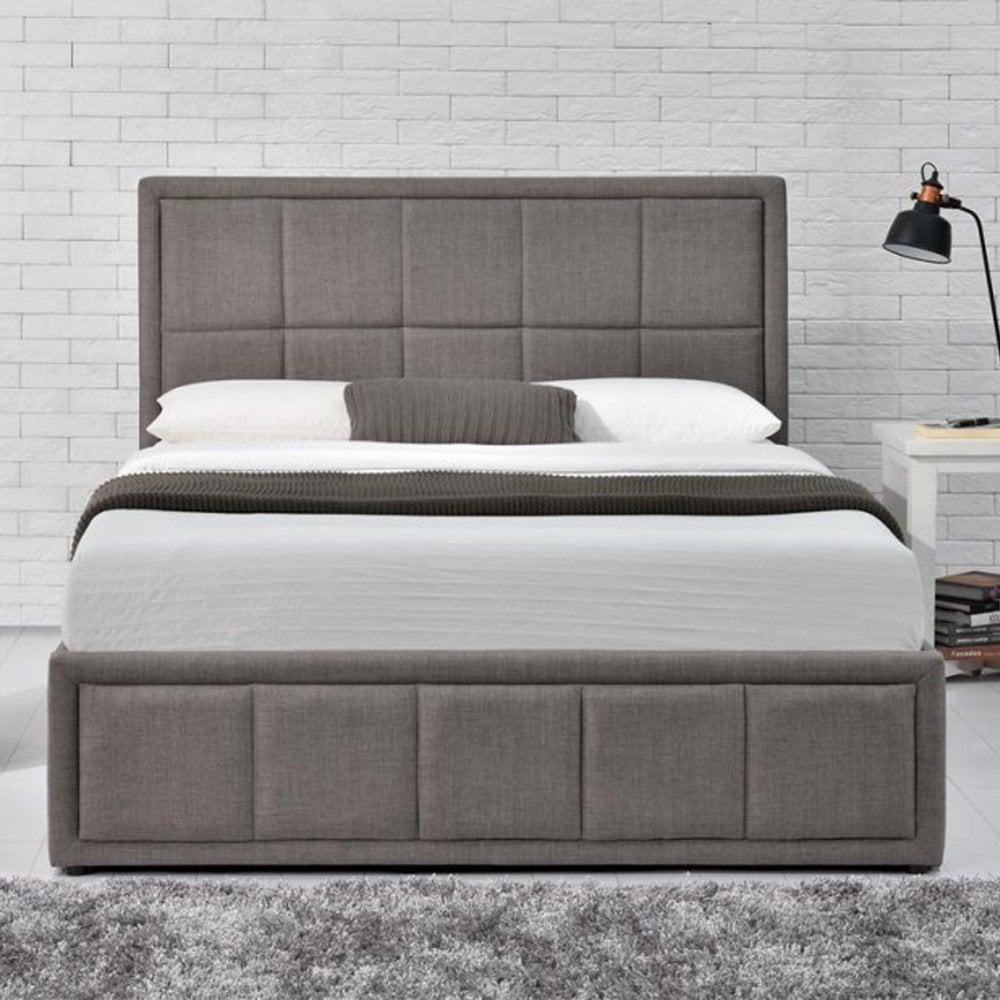 Miraculous Hanot5Gryv2 Hannover 5Ft King Size Grey Ottoman Bed Pabps2019 Chair Design Images Pabps2019Com