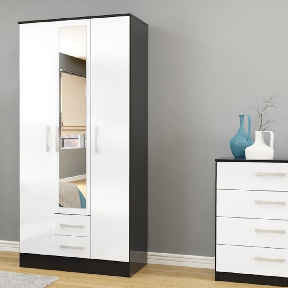 lynx black white 3 door 2 draw wardrobe - White Wardrobe