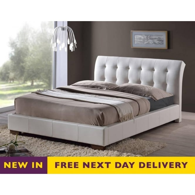 Time Living Boston 5ft King Size White Faux Leather Bed