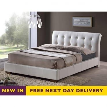 Boston 5ft King Size White Faux Leather Bed
