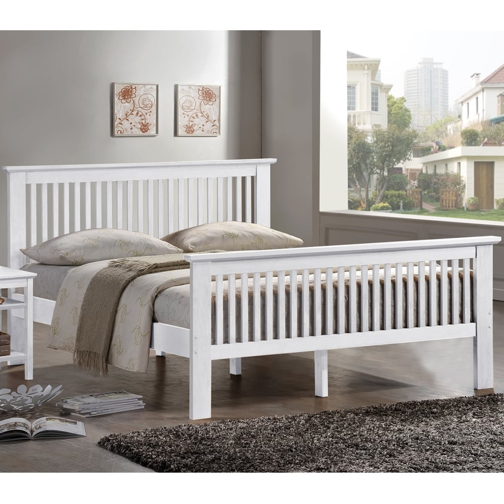 shop harmony beds 4ft small double Buckingham white wooden bed